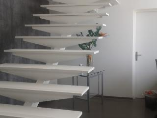 Design of a staircase in stone acrylic natural LG-Himacs
